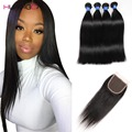 8a grade 3/4 Bundles Peruvian straight hair With Closure Peruvian Virgin Hair With Closure straight virgin human With Closure