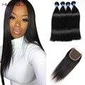 8a grau 3/4 Pacotes Peruano cabelo liso Com Encerramento Peruano Virgem Cabelo Com Fechamento direto humano virgem Com Fecho