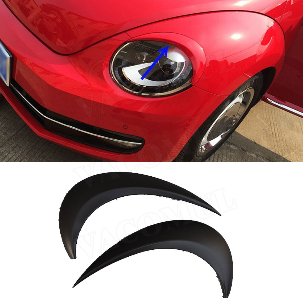 ABS Black Front Headlamp Eyelids Eyelashs Covers For VW Beetle A5 2012 2018 Headlight Eyebrows Trim Decoration Stickers