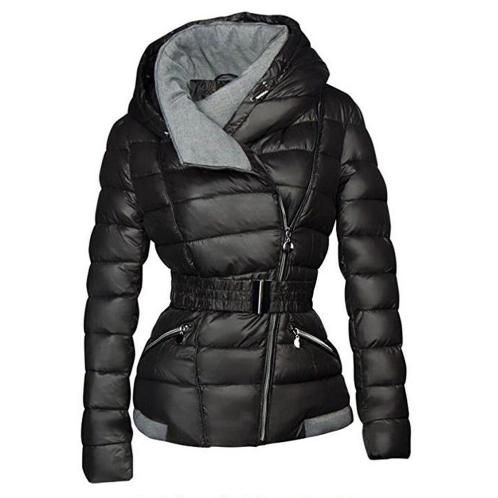 2018 abrigos de invierno para mujer Parkas de algodón cálido grueso abrigo corto con cinturón Delgado Casual cremallera gótico negro abrigos