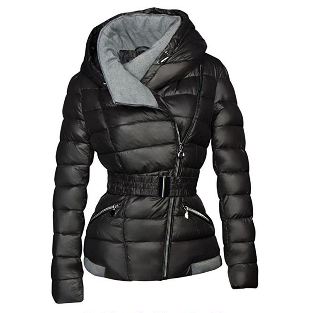 2018 abrigos de invierno mujer Parkas de algodón cálido grueso chaqueta Chaqueta corta con cinturón Slim Casual cremallera negro ropa abrigos