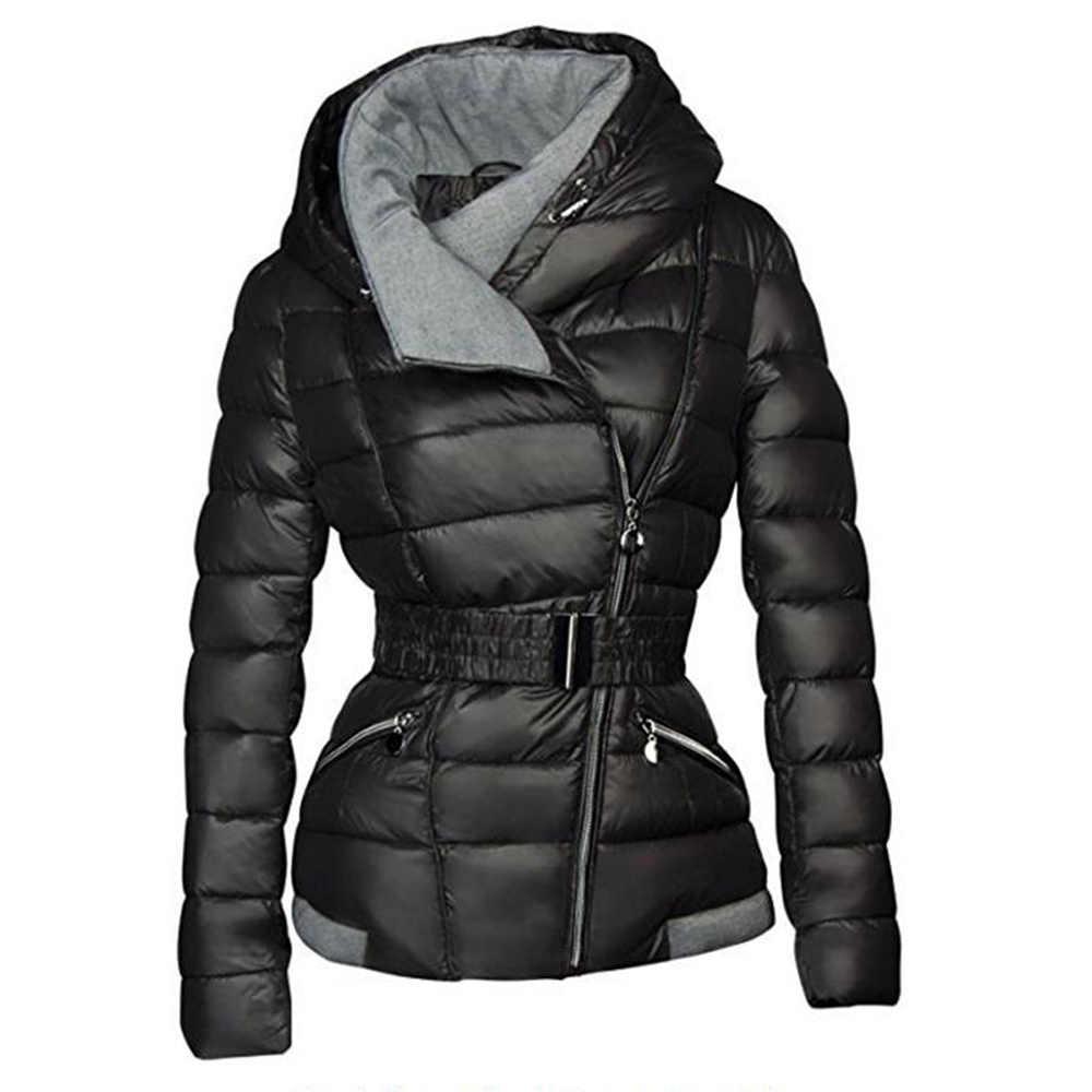 631310db5e8 2019 зимние пальто женские парки хлопок теплая Толстая короткая куртка  пальто с поясом тонкая Повседневная молния