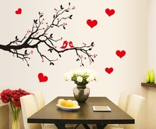 black red heart love wall stickers decals women couple valentine home bedroom wedding room decor birds tree branch wall paper