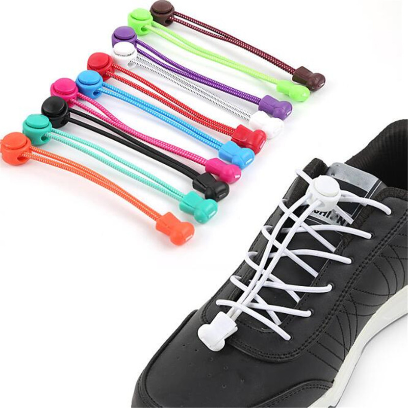 Stretching Lock Lace 12 Colors A Pair Of Locking Shoe Laces Elastic Sneaker Shoelaces Shoestrings Running/Jogging/Triathlon