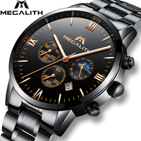 Men Watches MEGALITH Luxury Chronograph Date Calendar Watch Men Military Sport Waterproof Black Stainless Steel Wristwatch Mens