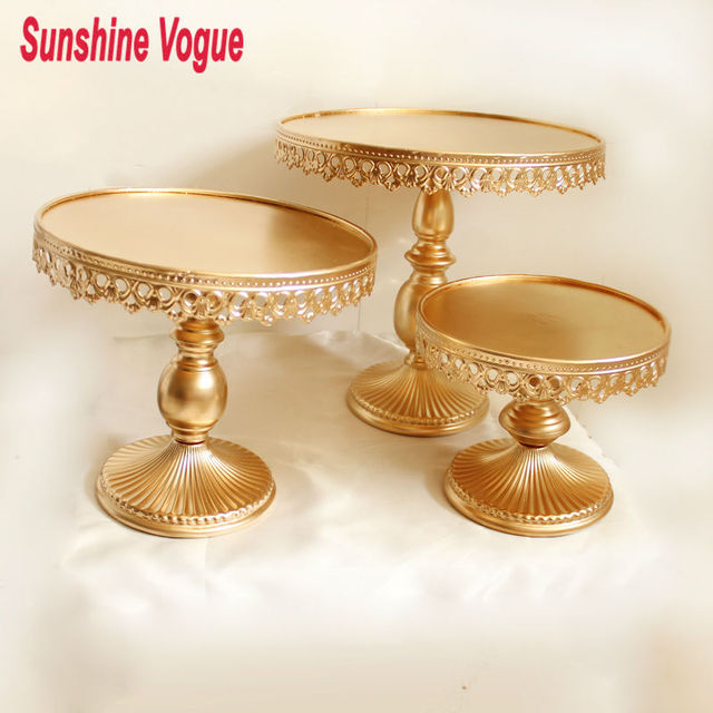 Gold Metal Cake Stand Iron Art And Cake Display Tray Wedding Party Table  Decoration Supplier Cake