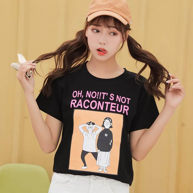 1cb822c757 2019 summer casual short sleeve t shirt harajuku women tshirt korean  ulzzang cartoon print loose cute t-shirts kawaii white top