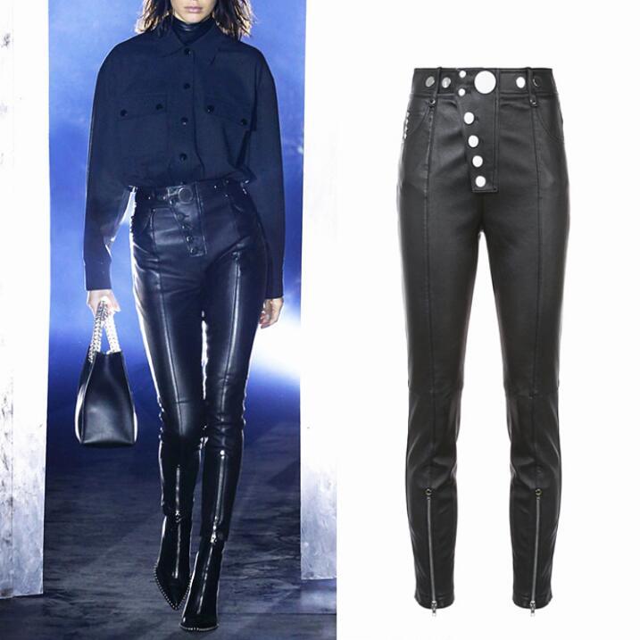 Alta Pantalones Motocicleta Punky Cintura De Mujeres Leggings Pu Length Moda Botón Para increase Cuero Lápiz Slim Negro Negro Las 4pOPOq