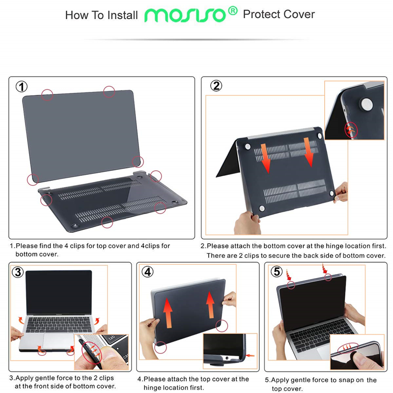 """Image 5 - MOSISO Matte Hard Laptop Sleeve Cover Case For Macbook Air 13 case Funda case For Mac Book new Air 13"""" with Touch ID A1932 2018-in Laptop Bags & Cases from Computer & Office"""