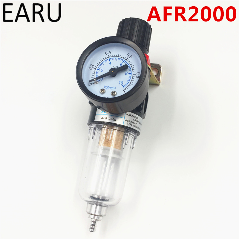 1pc AFR-2000 Pneumatic Filter Air Treatment Unit Pressure Regulator Compressor Reducing Valve Oil Water Separation AFR2000 Gauge 1pc air compressor pressure regulator valve air control pressure gauge relief regulator 75x40x40mm