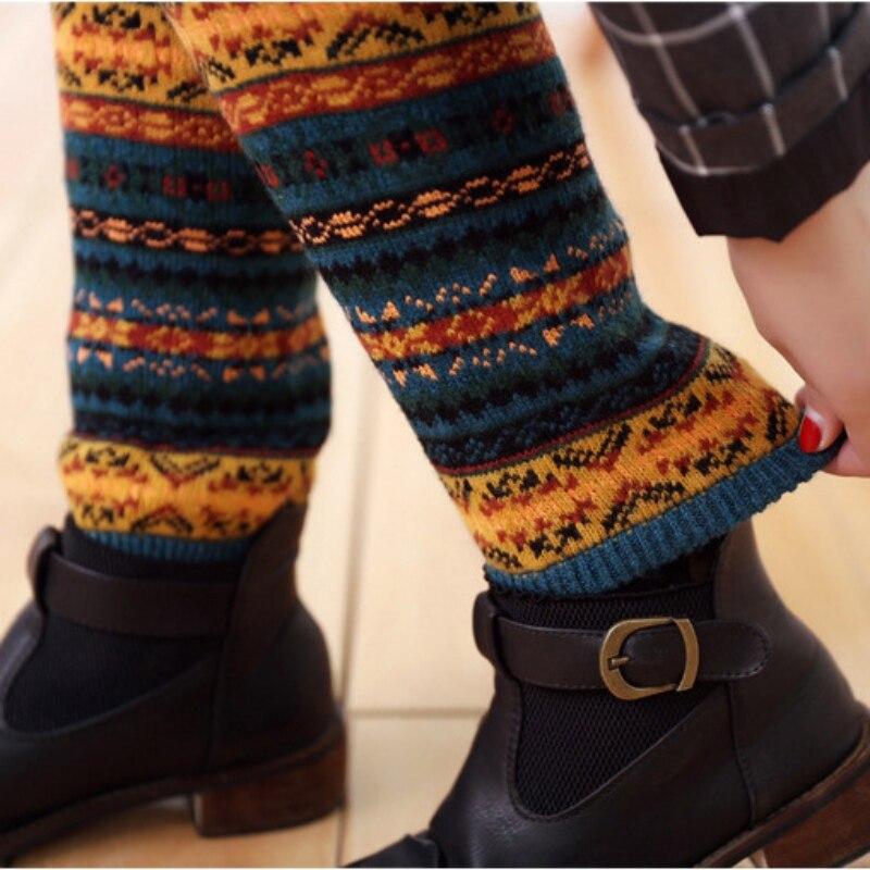 Las mujeres de punto de ganchillo de lana de invierno calentadores de la pierna de K88