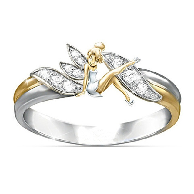 Exquisite Female Fashion Jewelry Wedding Rings Silver Cute Angel Flower Fairy Ri