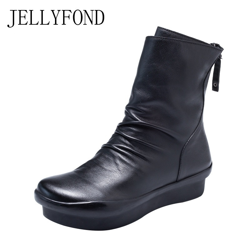 цена на JELLYFOND Genuine Leather Pleated Ankle Boots Women 2018 Vintage Platform High Heels Wedge Boots Handmade Cowhide Winter Shoes