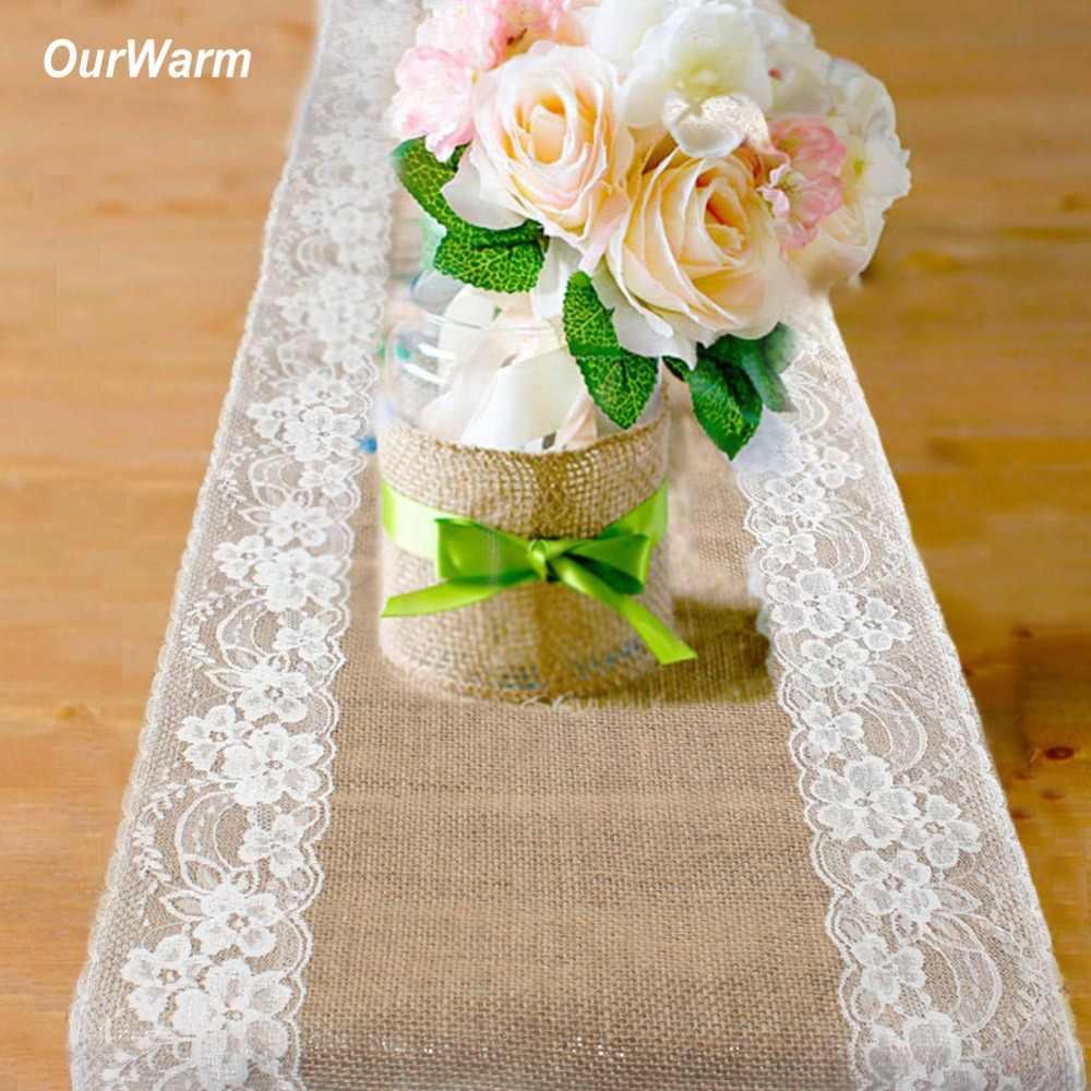 OurWarm 素朴なジュートテーブルランナー黄麻布テーブルクロスカバー花輪パーティー好意自由奔放に生きる結婚式のテーブルデコレーション