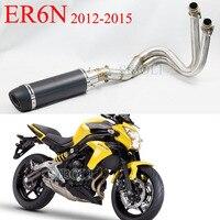 Для KAWASAKI ER6N 2012 2013 2014 2015 года слипоны выхлопной мотоцикл LEOVINCE глушитель выхлопной трубы Полный Системы с глушителем