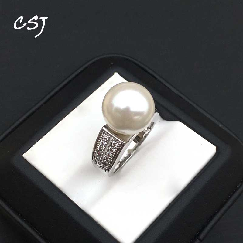 CSJ New Design Pearl Rings Round 12MM White Shell Pearl Beads Big Rings For Women Party Luxury