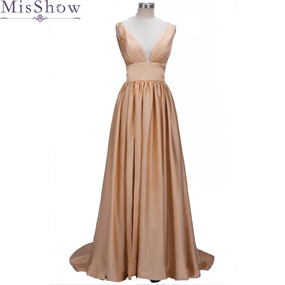 2019 Elegant Women Lady Pleated Deep V Neck Long   Bridesmaid     Dress   Prom Gown Women Gorgeous Long Split Wedding Party   Dress