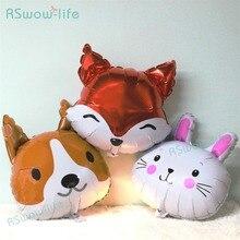 2pcs Cartoon Bunny Fox Head Dog Animal Aluminum Balloon Party Dress Up Festival Supplies