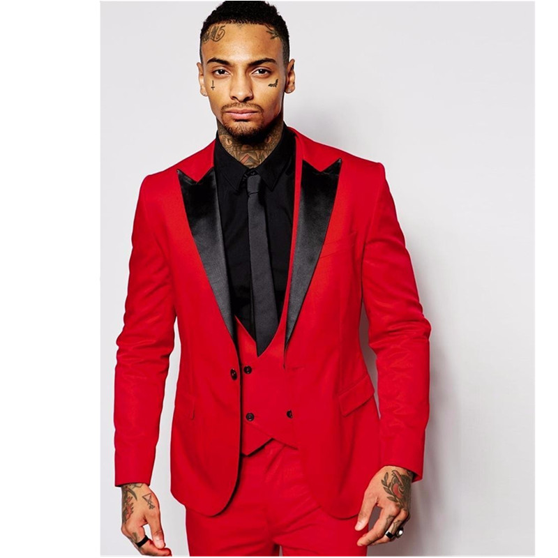 new Men's suits, Tailored suits Best Man Red Jacket Groomsmen Suits Groom Tuxedos Black Notch Lapel Wedding Suit