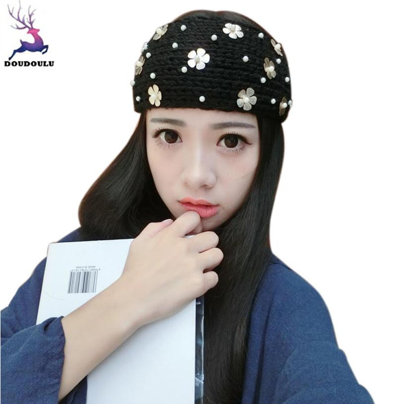 DOUDOULU Warm flower headbands for Girls Knitted Empty Skull Beanie bandanas Elastic Headband haarspeldjes voor meisjes#WMEW beanie