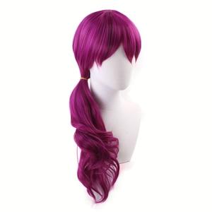 Image 2 - Agonia uścisk K/DA Evelynn czerwonawy fiolet długa peruka przebranie na karnawał KDA kobiety żaroodporne syntetyczne peruki do włosów