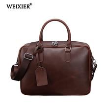 WEIXIER 2019 New Fashion Vintage PU Leather Briefcase For Man Vintage Men Handbags & Crossbody Messenger Bag Business Bags Male цена 2017