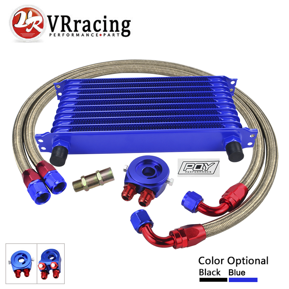 VR UNIVERSAL 10 ROWS TRUST TYPE OIL COOLER OIL FILTER ADAPTER NYLON STAINLESS STEEL BRAIDED AN10