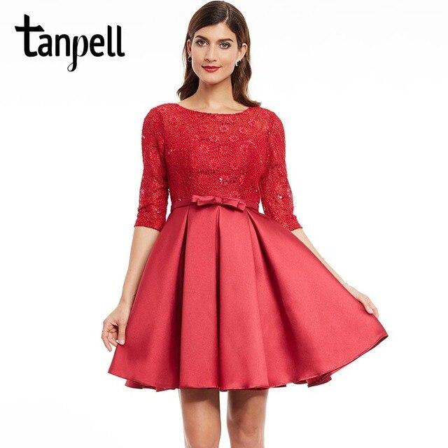58b31e1ba3f15 Tanpell kısa homecoming elbise bordo scoop yarım kollu diz boyu bir çizgi  elbise ilmek geri lace