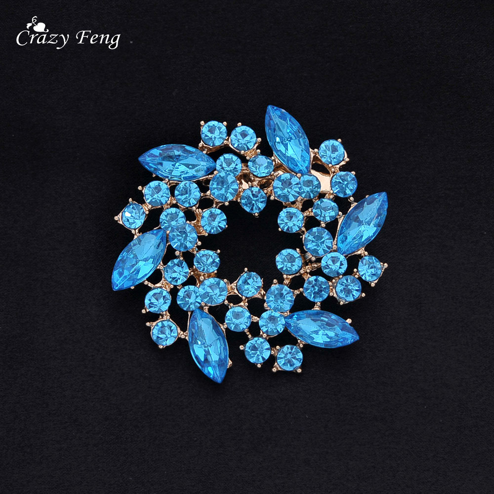 Crazy Feng Romantic Crystal Rhinestones Chinese Redbud Flower Brooch ...