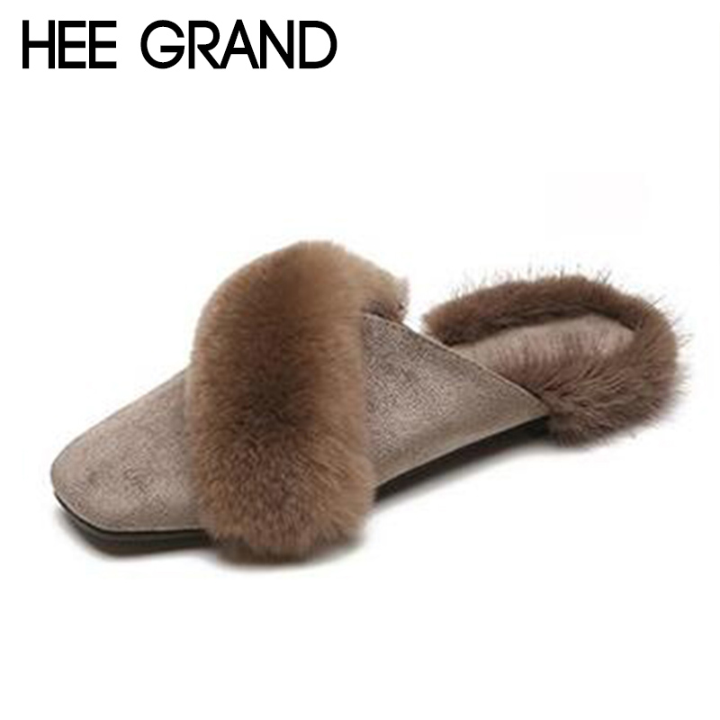 HEE GRAND Women Party Fashion Winter Slippers Causal Shoes Slip on Faux Fur Warm Women's Fashion Shoes Mujer Slippers XWT1416 hee grand 2018 new fashion flats shoes women oxfords faux fur pu leather solid mother causal slip on british style shoes xwd6955