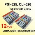 wholesale 12pcs PGI 525 CLI 526 ink cartridge For canon MX715 MX885 MX895 PIXMA IP4850 IP4950 IX6550 MG5150 MG5250 MG5350