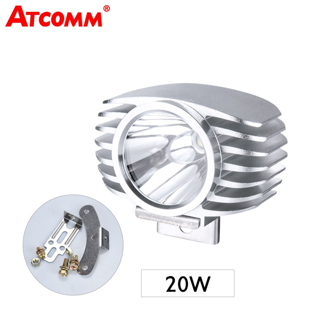 atcomm 20w led headlight assembly for motorcycle 12v 6500k. Black Bedroom Furniture Sets. Home Design Ideas