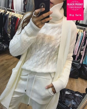 Fashion brand Winter Woolen and Cashmere Knitted warm Suit Turtleneck Sweater + Mink Cashmere Trousers Leisure Two-piece wj1813