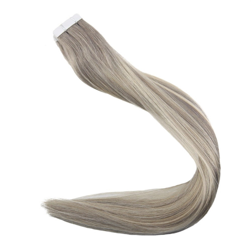 Full Shine Tape In Hair Extensions Piano Color #19A And 60 White Blonde Glue On Hair 20 Pcs 50g 100% Remy Hair Tape In Extension