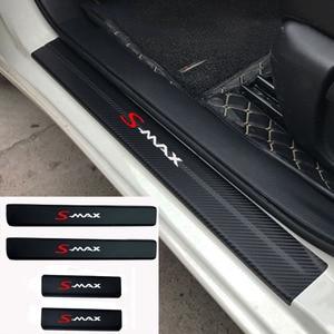 Image 1 - 4pcs Fashion sticker Car Door Sill Protector Sticker Carbon Fiber Vinyl Sticker For Ford Smax S MAX
