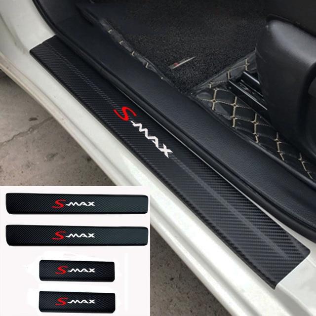 4pcs Fashion sticker Car Door Sill Protector Sticker Carbon Fiber Vinyl Sticker For Ford Smax S MAX