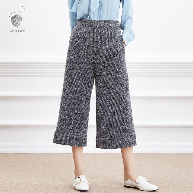 FANSILANEN 2017 New Winter Women Knitting Knit Panty Wide Leg Pants Loose Harem Bloomers Casual High Elastic Waist Trousers 6695