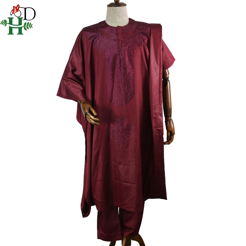 H amp D african agbada men clothes suits robe tops pant 3 pieces set african traditional men 39 s dashiki clothing with rhinestones in Africa Clothing from Novelty amp Special Use
