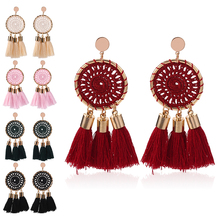 HOCOLE Bohemian Long Tassel Earring Statement Gold Metal Round Fringed Drop Earrings For Women Fashion Jewelry Party Gifts Lady