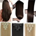 "US UK Local Stock 8Pcs/Set Clip in on Hair Extensions Full Head 18 Clips Straight 26"" 66cm Silky Natural Black Brown Blonde hair"