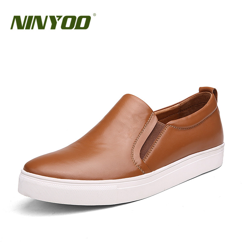 NINYOO Autumn Fashion Shoes Men Genuine Leather Casual Moccasin Loafers 36 37 Breathable Slip On Sneakers Man Plus Size 50 51 52