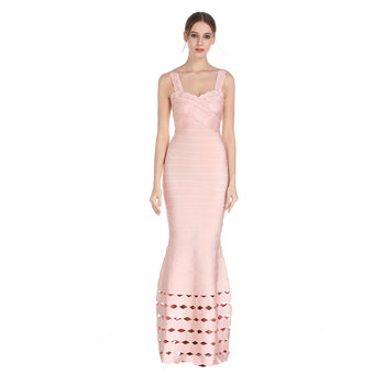Trumpet Mermaid Sexy Hollow Out Women Bandage  Dress Spaghetti Strap V Neck Maxi Dresses Celebrity Party Club Sleeveless Vestido