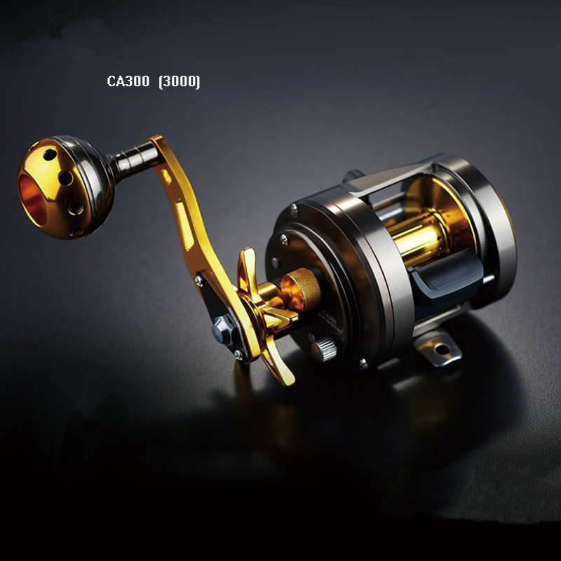 Saltwater Fishing Reels Trolling Reel Drum Reel Saltwater CA100-300 1000 2000 3000 Left Right Hand Sea Fishing Reel metal round jigging reel 6 1 bearing saltwater trolling drum reels right hand fishing sea coil baitcasting reel