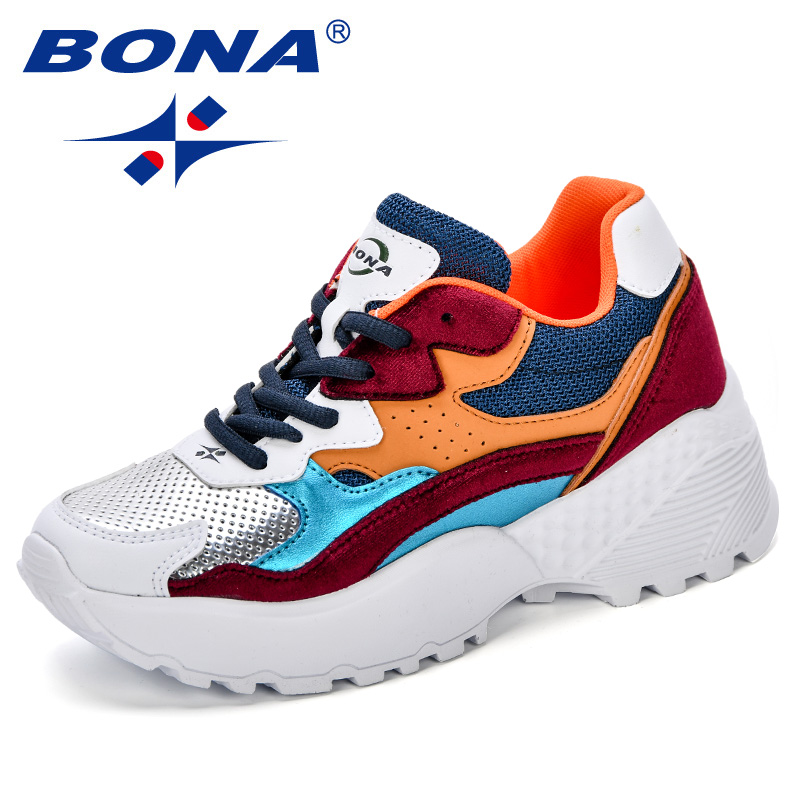BOAN Shoes Women 2018 Autumn & Winter New Design Platform Sneakers Shoes Tenis Feminino Casual Trendy Woman Lace-Up Footwear trendy women s pumps with pure colour and lace up design