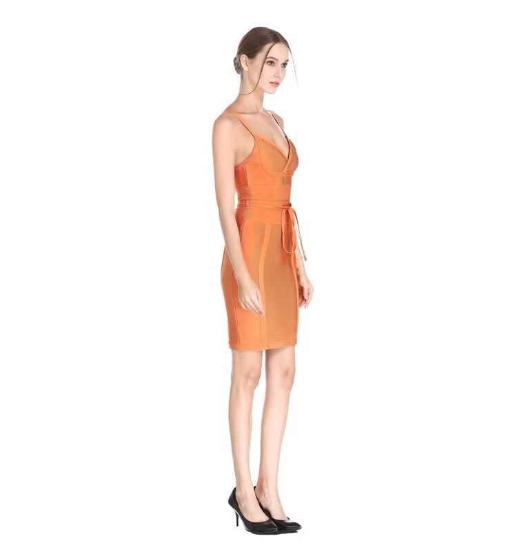 Новинка 2017 года, Оранжевое Женское мини-повязка без рукавов с глубоким v-образным вырезом, сексуальное коктейльное платье для вечеринки, платье оптом и в розницу HL7115