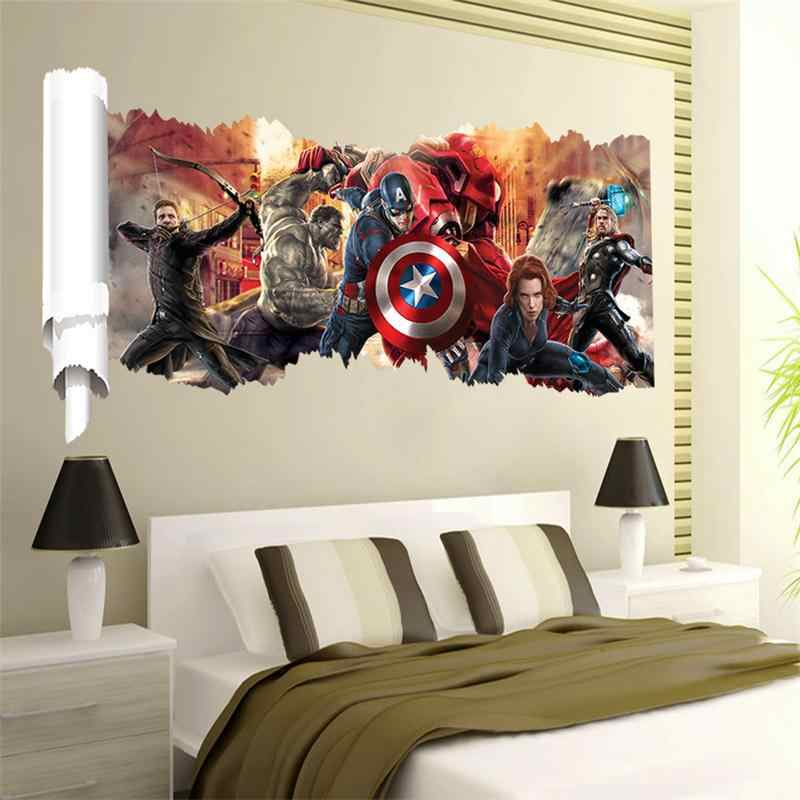 Popular Decorative 3D Wall Hole Stickers For Living Room Bedroom Decor PVC Home Wall Art Movie Avenger Decorations Mural Poster