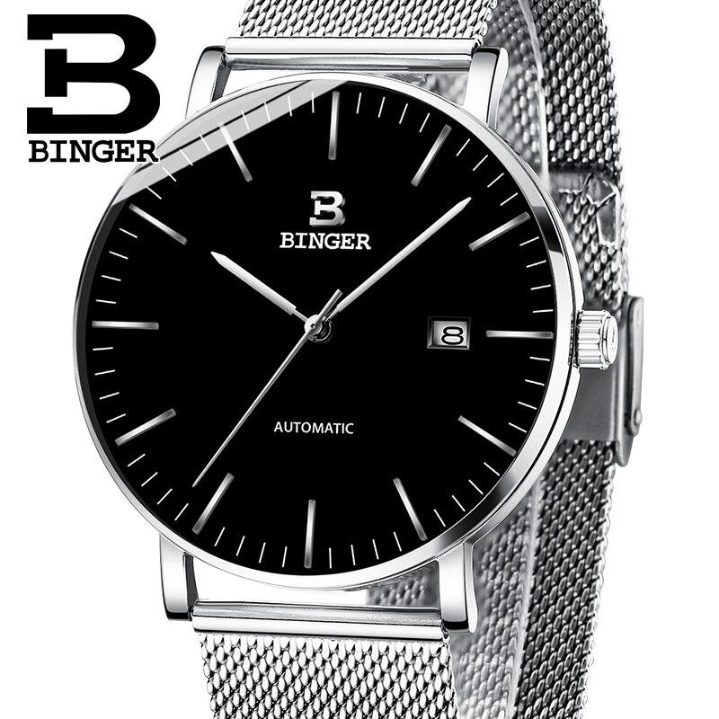 Suisse BINGER Hommes Montres De Luxe de Marque Hommes Montre Saphir Japon Seiko NH35A Auto Mécanique Movemt reloj hombre B-5081M