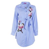 Summer Blue White Striped Women S Shirt Fashion Embroidery Floral Long Blouse Lapel Long Sleeve Bow