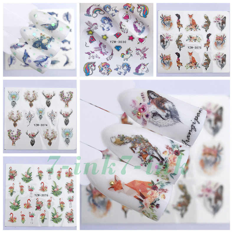 Water Nail Stickers deer Wolf fox whale bird animal adhesive Sliders For Nail Art Decal Beauty Foils Decoration