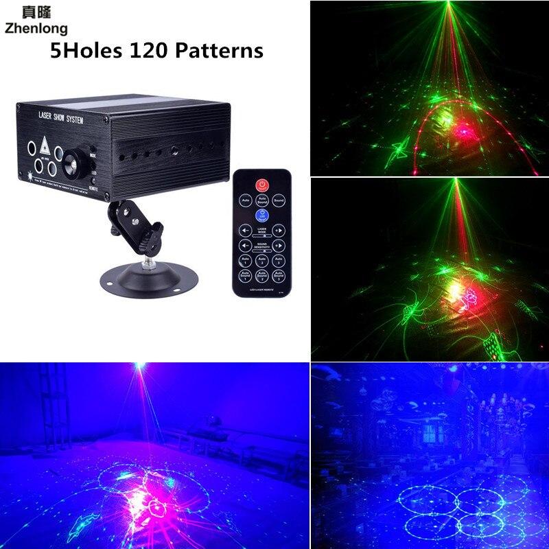 Projecteur Laser lumière 5 trous 120 modèles DJ Disco lumière musique rvb scène éclairage effet lampe pour noël KTV accueil fête Bar